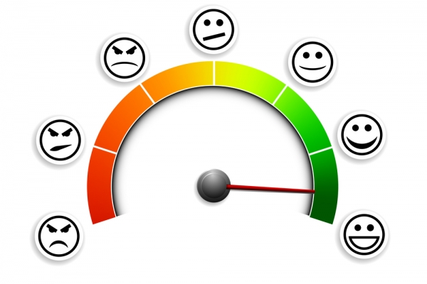 detailed illustration of a customer satisfaction meter with smil